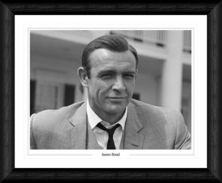 sean connery headshot framed black white print