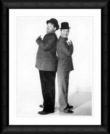 laurel hardy back to back framed print