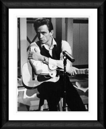johnny cash with acoustic guitar 1966 framed