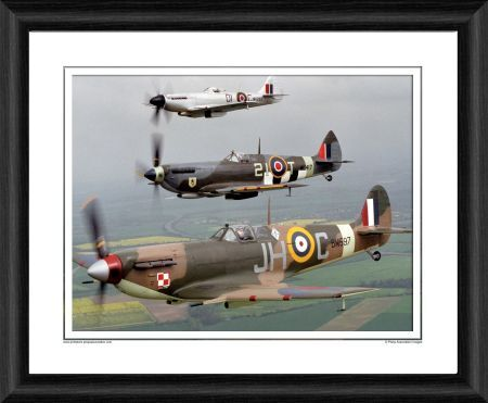 spitfire mk vb mk ixe xive framed photographic
