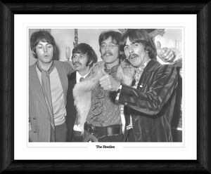 The Beatles Fab Four with Thumbs up Framed Black & White Print
