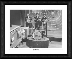 Beatles on Top of the Pops Framed Black & White Print
