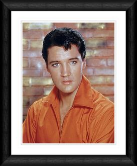 Elvis Presley Orange Shirt Portrait Framed Print