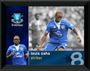 Everton FC Louis Saha Official Framed Player Profile Print