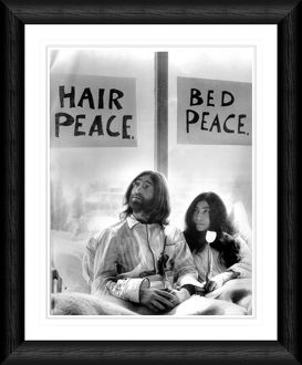 John Lennon & Yoko Ono in Bed Protest Framed Black & White Print
