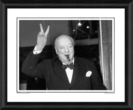 sir winston churchill victory framed photographic