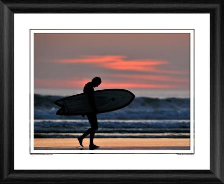 surfer sunset framed photographic print
