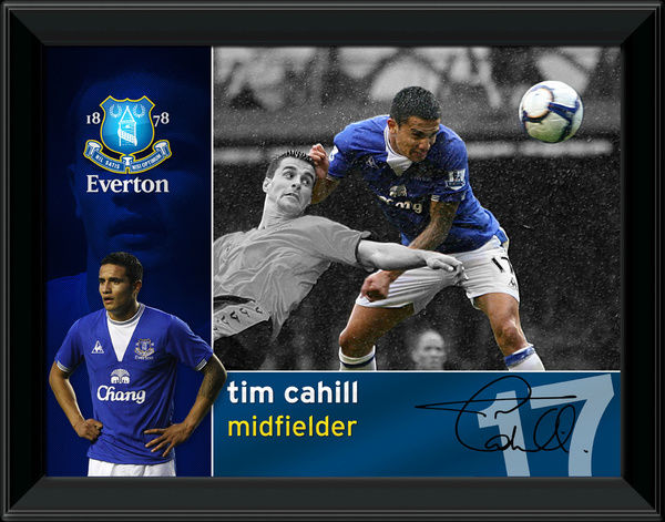 A superb photographic montage of Everton midfielder Tim Cahill. This superb item comes in two sizes. EVTN100 - 16x12 inches EVTN107 - 8x6 inches