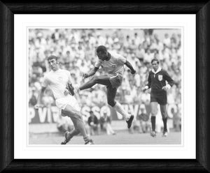 Pele Shoots During 1970 World Cup in Mexico Framed Print